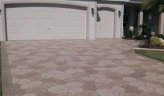 Driveway with concrete coatings