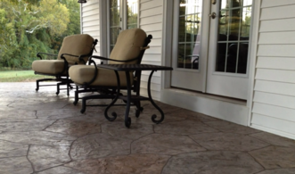 Decorative concrete floors of a porch in Hoover, AL